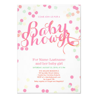 Colorful Modern Pink Girl Baby Shower Invitation