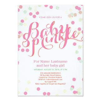 Colorful Modern Pink Girl Baby Sprinkle Invitation