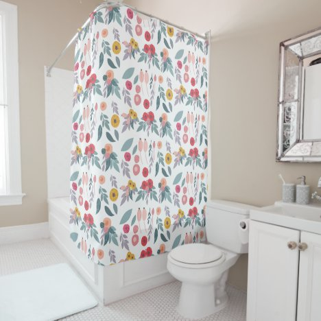 Colorful Modern Pretty Floral Pattern Shower Curtain