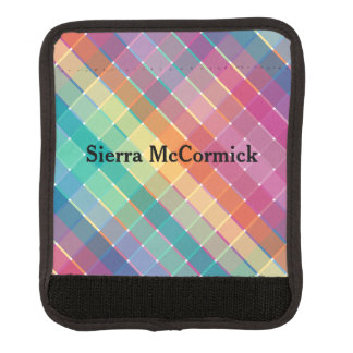 Colorful Modern Rainbow Plaid Stripes Luggage Handle Wrap