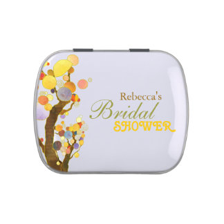 Colorful, Modern Trees Bridal Shower Favor Candy Jelly Belly Tin