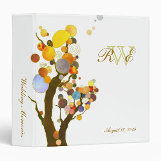 Colorful Modern Trees Wedding Photo Book Binder
