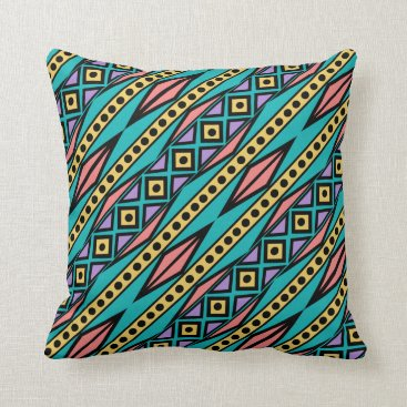 Aztec Themed Colorful Modern Tribal Aztec Geometric Style Throw Pillow