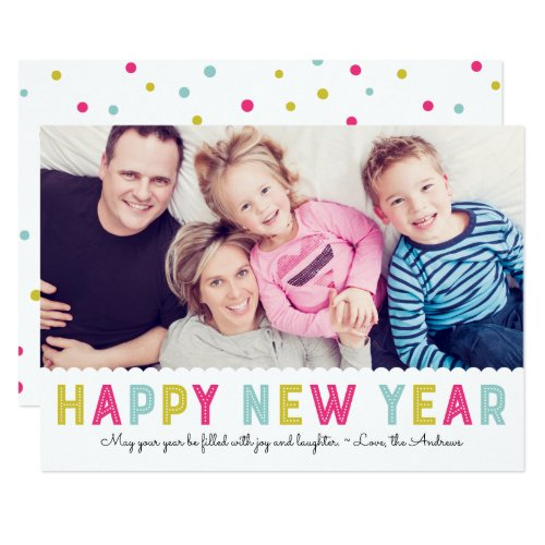 Colorful Modern Typography Happy New year Photo Card