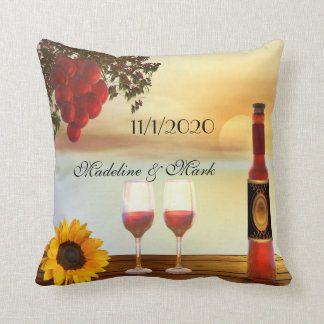 Colorful Modern Wine Lovers Wedding Pillow