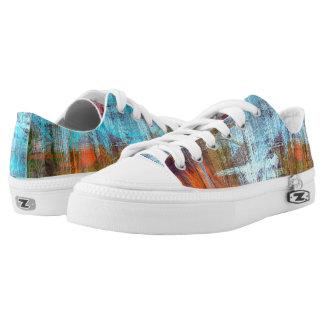Colorful Modern Wood Grain Background Low-Top Sneakers
