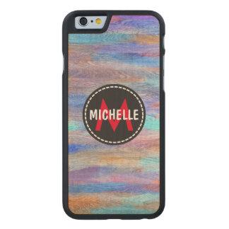 Colorful Modern Wood Grain Monogram #11 Carved Maple iPhone 6 Slim Case