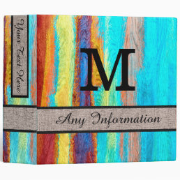 Colorful Modern Wood Grain Monogram #20 Binder