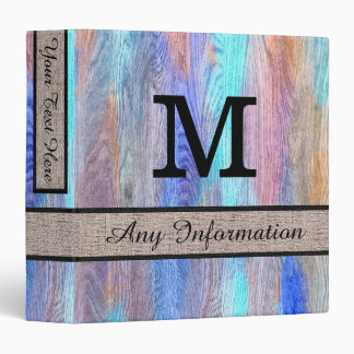 Colorful Modern Wood Grain Monogram #8 3 Ring Binder