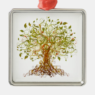 Colorful Modernist Tree 13 Metal Ornament