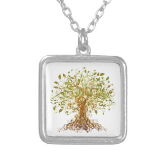 Colorful Modernist Tree 13 Silver Plated Necklace