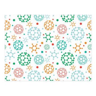 Colorful molecules pattern postcard