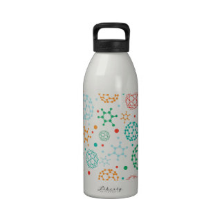 Colorful molecules pattern drinking bottle