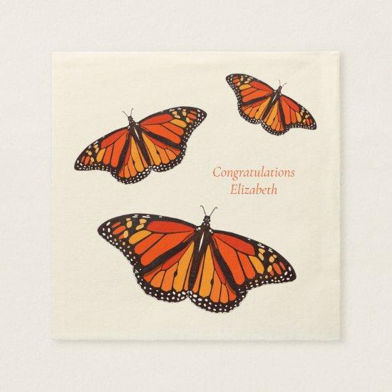 Colorful Monarch Butterflies custom message Napkins