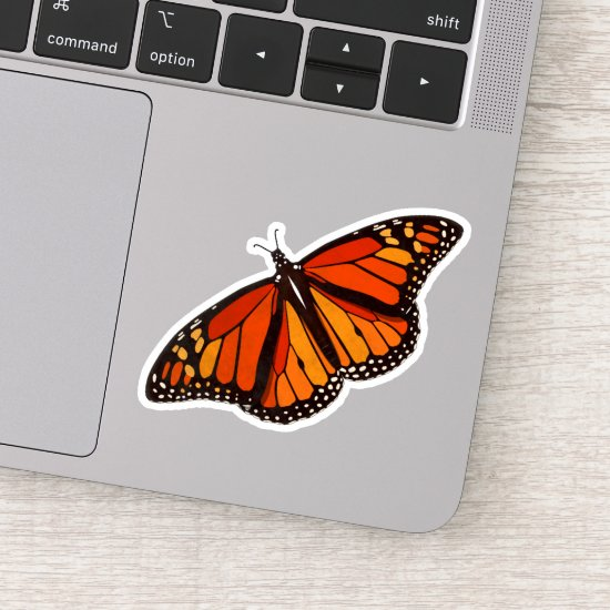 Colorful Monarch Butterfly with wings open Sticker