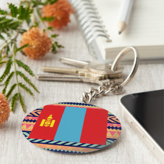 Colorful Mongolia Flag Box Basic Round Button Keychain