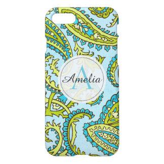 Colorful Monogram Paisley Aqua Boho Chic Custom iPhone 7 Case