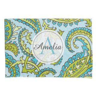 Colorful Monogram Paisley Blue Bohemian Trendy Pillow Case
