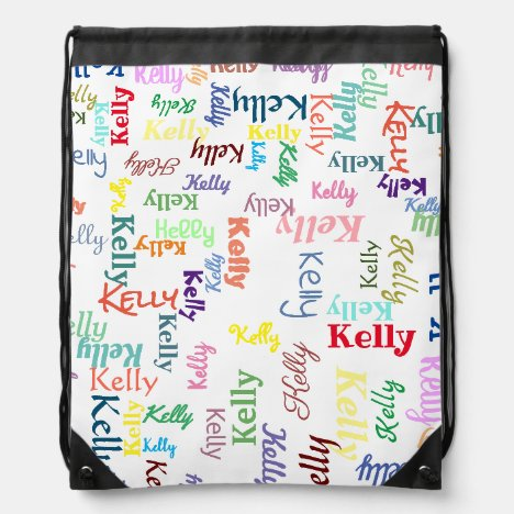 Colorful Monogrammed First Name Cute Funky Bright Drawstring Bag