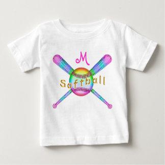 Colorful Monogrammed Softball Shirts for Baby Girl
