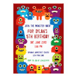 Colorful Monster Birthday Party Invitations Red
