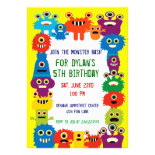 Colorful Monster Birthday Party Invitations Yellow