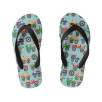 Colorful Monster Trucks Boy Flip Flops