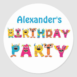 Colorful Monsters Birthday Party Classic Round Sticker