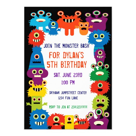 colorful monsters birthday party invitations zazzle com