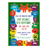 Colorful Monsters Birthday Party Invitations Green
