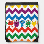 Colorful Monsters Chevron Zigzags Kids Cinch Bag