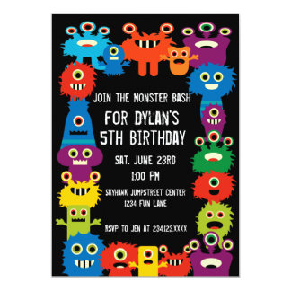 colorful monsters kids birthday party invitations - Monster Birthday Party Invitations