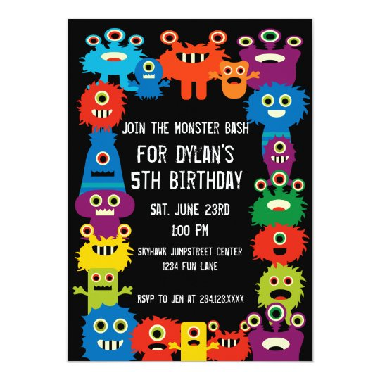 colorful monsters kids birthday party invitations zazzle com