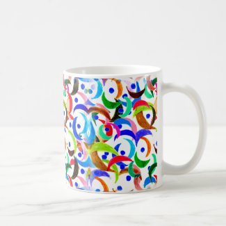 Colorful Moon Slices Design on Coffee Mug