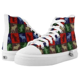 Colorful moose pattern Zipz high top sneakers