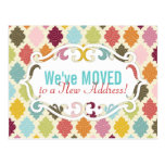 Colorful Moroccan Quatrefoil Moving / Moved Cards Post Cards
