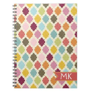Colorful Morrocan Quatrefoil Pattern Spiral Note Book