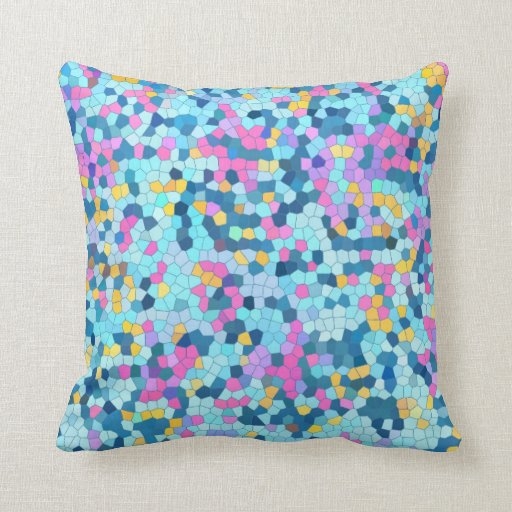 Colorful Mosaic / Blue Pink Yellow pillow