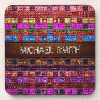 Colorful Mosaic Burlap Elegant Leather Look #10 Coaster