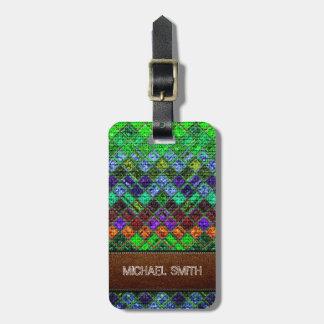 Colorful Mosaic Burlap Elegant Leather Look #3 Bag Tag
