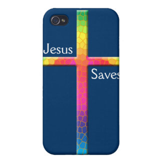 Colorful Mosaic Cross-Jesus Saves! iPhone 4 Cases