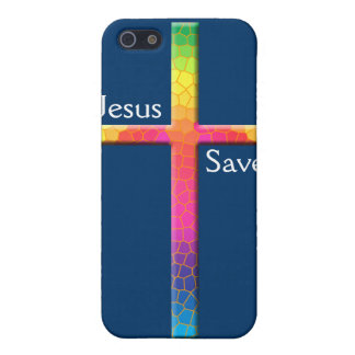 Colorful Mosaic Cross-Jesus Saves! iPhone SE/5/5s Case