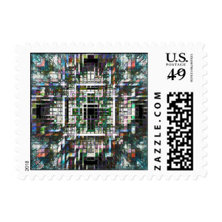 Colorful Mosaic Cubes Postage