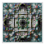 Colorful Mosaic Cubes Poster