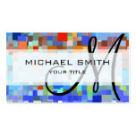 Colorful Mosaic Custom Monogram Business Card Templates