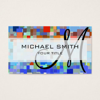 Colorful Mosaic Custom Monogram Business Card