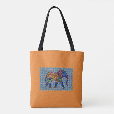 galxc_designs Colorful Mosaic Elephant Tote Bag