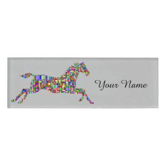 Colorful Mosaic Horse Riding School Name Tag