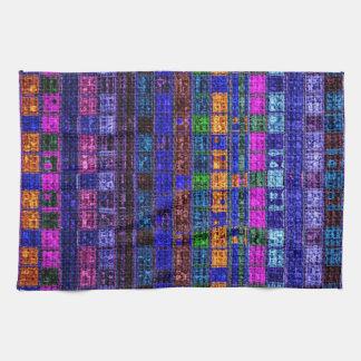 Colorful Mosaic Pattern Burlap Rustic #11 Towel