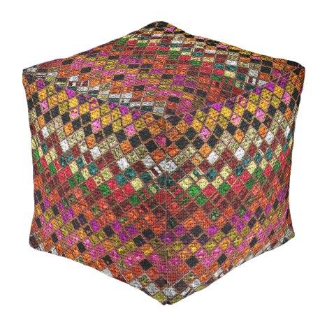 Colorful Mosaic Pattern Burlap Rustic #12 Pouf